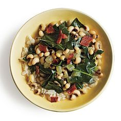 Black-Eyed Peas and Greens: oooo YUM..... If you love southern food, then this is a good dish to prepare and you'll enjoy it.