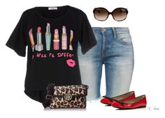 """Playing with red flats"" by ksims-1 ❤ liked on Polyvore featuring NSF, Furla, Blugirl Folies, Tommy Hilfiger and Oliver Peoples"