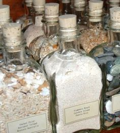 beach sand bottle collection - many different versions and a link to an interesting NY Times article about the varieties of sand. Shells And Sand, Sea Shells, Sand Collection, Beach Crafts, Sand Crafts, Seashell Crafts, Diy Crafts, Vacation Memories, Shell Beach
