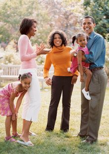 Oprah and President Barack Obama and family