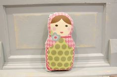 PETUNIAS Matryoshka Babushka Doll Pillow plush softie baby girl gift photo prop stuffed pink brunette brown hair via Etsy