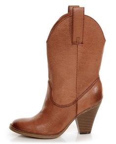 Madden Girl Cognac Burnished Boots