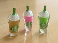 3 Assorted, Dollhouse, Miniature, Frappuccino, Beverage, Drinks, Dolls, Cafe, Fake Food, Cute, Kawaii, 3D cabochons, decoden, DIY