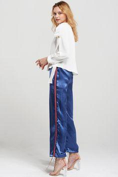 Rana Side Line Satin Pants Discover the latest fashion trends online at storets.com #fashion #ootd #satinpants #pants #storetsonme