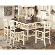 Whitesburg (white/natural) Square counter height table