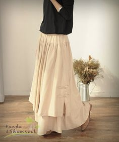 Strolling/long skirt/two layers/ cotton/linen by pandaandshamrock, $58.00