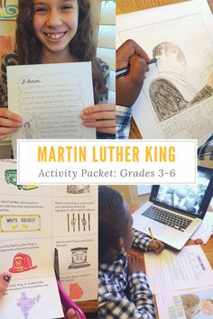 """Martin Luther King Lessons for Kids: a powerpoint and activity with a timeline of his life, cloze activity with primary source of """"I Have a Dream"""" speech, vocabulary related to the Civil Rights movement, plus writing activities! Great for grade, E Black History Month Facts, Black History Month Activities, History For Kids, Activities For Kids, Writing Activities, Vocabulary Activities, Spring Activities, Reading Resources, Educational Activities"""