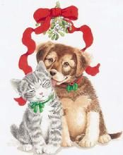 Puppy, Kitten, Christmas, Mistletoe