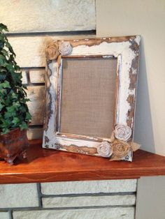 Distressed Wood Frame with Burlap Roses by IttyBittyCottage, $38.00