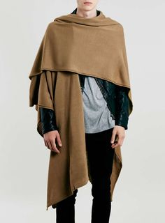 For mens fashion check out the latest ranges at Topman online and buy today. Topman - The only destination for the best in mens fashion Nomad Fashion, Europe Fashion, Mens Fashion, Fashion Outfits, Fashion Design, Fashion Cape, Mens Poncho, Mens Cape, Cape Designs
