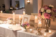Pink and white entrance table and if you need a celebrant call me at (310) 882-5039 https://OfficiantGuy.com