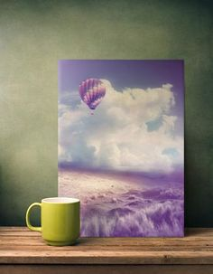 Balloon in the cloudy sky ... print on metal in pastel purple tones ... artist: @viaina, made as print on metal by @displate
