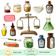 Apothecary , pharmacy in an old timeclipart,digital illustration , web graphic , instant download