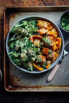 creamy butternut squash with broccoli and chipotle almond sauce.