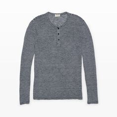 Cotton-Linen Stripe Henley - Long Sleeve Tees and Polo Shirts from Club Monaco Canada