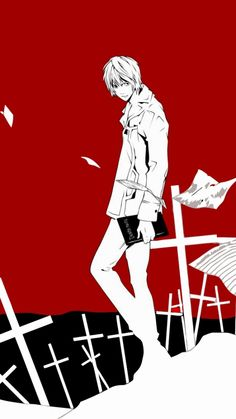 anime, boy, paper, notebook, background, crosses
