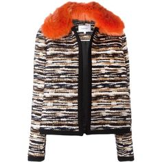 Carven faux fur collar jacket (2,780 MYR) ❤ liked on Polyvore featuring outerwear, jackets, black, multi color jacket, carven jacket, colorful jackets, multi colored jacket and faux fur collar jacket