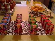 Cereal boxes with spoons at a Sleepover Party #sleepover #cerealboxes