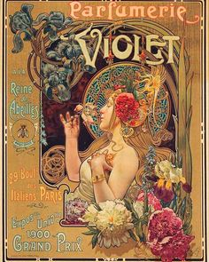 "LOUIS-THEOPHILE HINGRE Size: 20 x 25 x 65 cm Imp. Leopold Verger, Paris A remarkably detailed, sumptuous image promoting Parfumerie Violet, known as the ""Queen of the Bees"". Art Nouveau Mucha, Alphonse Mucha Art, Art Nouveau Poster, Art Nouveau Design, Retro Poster, Poster Vintage, Vintage Art, Perfumes Vintage, Art Et Architecture"