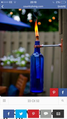 DIY Recycled Wine Bottle Torches - Tiki Lights for the deck. Wine Bottle Tiki Torch, Wine Bottle Crafts, Diy Bottle, Blue Bottle, Bottle Garden, Wine Bottle Wall, Bottle Art, Empty Wine Bottles, Glass Bottles