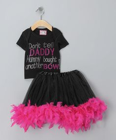 Take a look at this Black 'Don't Tell' Tutu Set - Infant, Toddler & Girls  by Born 4 Couture on #zulily today!