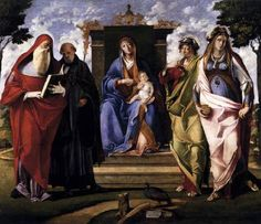 DIANA, Benedetto (b. ca. 1460, Venezia, d. 1525, Venezia) Click! Virgin and Child Enthroned with Saints c. 1515 Panel, 200 x 230 cm Gallerie dell'Accademia, Venice This painting is perhaps the masterpiece of this somewhat slapdash and uneven artist. As one of the inscriptions notes, it was commissioned - very unusually - by a woman, Fiordelise, widow of maestro Bertolo, a potter.