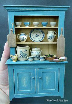 Jane Graber Pottery Rustic Artisan Hutch / Cabinet Dolls House Miniature IGMA…