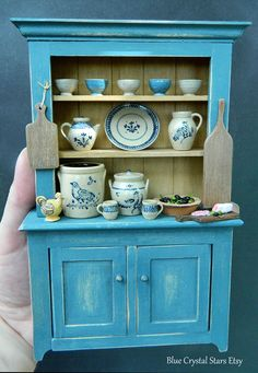 Jane Graber Pottery Rustic Artisan Hutch / Cabinet Dolls House Miniature IGMA…