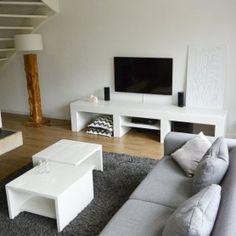 Steigerhouten tv meubel , modern ontwerp en op maat voor u gemaakt Interior Design Living Room, Modern, House, Furniture, Home Decor, Bedroom Ideas, Kitchen, Houses, Tv Storage