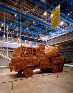WIM DELVOYE. Cement Truck II, 1990 -1999. Carved teak wood, 690 x 295 x 225 cm (Centre Georges Pompidou, Paris)