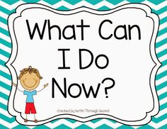 What Can I Do Now? posters for you classroom.
