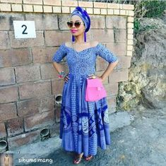 Blue Elegant Shweshwe Dresses for outing 2019 African Dresses For Women, African Print Dresses, African Print Fashion, African Fashion Dresses, African Attire, Sotho Traditional Dresses, South African Traditional Dresses, Traditional Fashion, Traditional Outfits