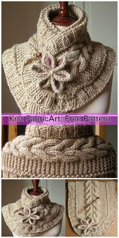 Cable Knit Scarf Neck Warmer with Flower Free Pattern Loom Knitting, Knitting Patterns Free, Knit Patterns, Free Pattern, Finger Knitting, Knitting Tutorials, Free Knitting, Knitted Flower Pattern, Knitted Flowers