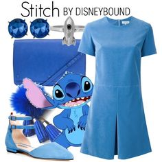 Stitch by leslieakay on Polyvore featuring Carven, SJP, Kin by John Lewis, Kenneth Cole, disney, disneybound and disneycharacter
