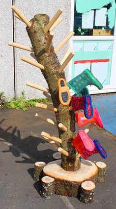 Unique outdoor wellie storage ideal for promoting children's independence.