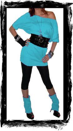 fashion outfits costume ideas Love this aqua long shirt with belt the shoes not soo much Costume Année 80, 80s Party Costumes, 80s Party Outfits, Eighties Costume, Costume Ideas, Moda 80s, Fashion Guys, Fashion Heels, Fashion Outfits
