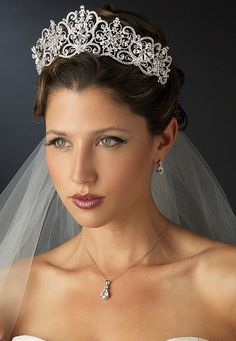"Stunning Silver Plated 2 1/2"" Royal Wedding or Quinceanera Tiara - Affordable Elegance Bridal -"