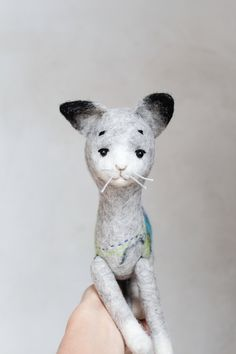 Marcell - Felt Cat. Art Puppet, Felted Toy,  Stuffed Toy, Felt Animal, Kitten, Fathers Day Gift . grey silver blue, for him. MADE TO ORDER by TwoSadDonkeys on Etsy https://www.etsy.com/listing/229337938/marcell-felt-cat-art-puppet-felted-toy