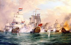 """John Bentham-Dinsdale (English, 1927-2008) """"The Battle of Sole Bay, 28th May 1672"""""""