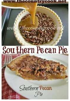 southern pecan pie Southern Pecan Pie - this is the best pecan pie recipe I have ever tried, the dark corn syrup makes all the difference Pie Recipes, Sweet Recipes, Dessert Recipes, Pie Dessert, Pumpkin Recipes, Dinner Recipes, Just Desserts, Delicious Desserts, Yummy Food