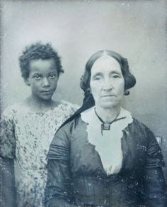 Daguerreotype of a slave in New Orleans with her mistress, c. 1850.