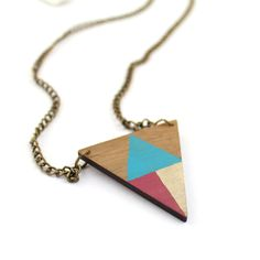 geometric triangle wooden necklace