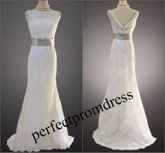 Plus size Lace wedding dress / Vback wedding by perfectpromdress, $178.00