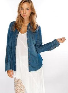 Denim Fitted Button Down Shirt with Stud Embellishment,  Top, studded top  denim jacket, Casual