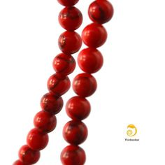 10 Red Turquoise Beads 6mm by ThirdEarDear on Etsy