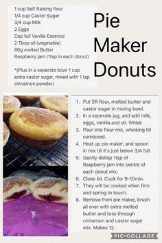 pie maker Blouses and Tops red wonder woman shirt Mini Pie Recipes, Donut Recipes, My Recipes, Sweet Recipes, Baking Recipes, Dessert Recipes, Desserts, Sunbeam Pie Maker, Breville Pie Maker