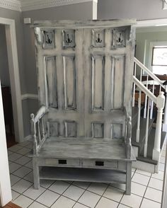 Wow did this turn out nice. It was a challenging project made of 2 solid wood doors a coffee table cut in half and a head board. This is my favorite piece the paint and distressing make it look 100 years old. It goes from ugly to beautiful. Rhonda is selling this at #allbumpedup #3littleblackbirds we are taking it to the shop today. It won't last the rare items don't stick around. #upcycledfurniture #mattdad #recycledfurniture #halltree #repurposed #shabbychic #shabbychicdecor…