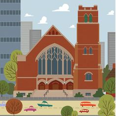 First Presbyterian Church - Edmonton Landmark art print, home decor  Edmonton landmark art print with a unique Mid-Century / Folk Art take. A perfect Edmonton gift idea for any city lover or that poor soul that is leaving town. Purchase on www.snowalligator.com  Illustration by local artist Jason Blower  #yeg #yegart #yegwallart #wallart #EdmontonArt #edmontongift #yeggift #snow_aligator #charmingart #cuteart #midCentury #Folkart #cuteart #charmingart #edmontonartist
