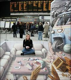 Take a look at this amazing Kurt Wenner's Waterloo Station Street Art illusion. Browse and enjoy our huge collection of optical illusions and mind-bending images and videos. 3d Street Art, Amazing Street Art, Street Art Graffiti, Amazing Art, Awesome, 3d Sidewalk Art, Waterloo Station, 3d Chalk Art, Chalk Drawings