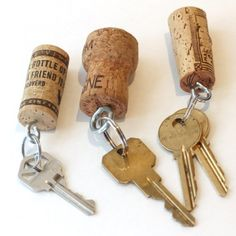Wine Cork Keychains  A simple craft, perfect for the pool or beach since you'll never worry about losing you keys in the water
